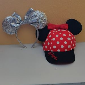 Bundle silver sequin Minnie ears and Minnie hat